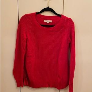 LOFT red cable knit sweater